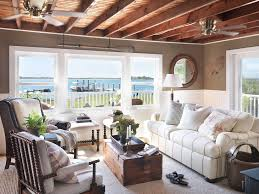 Rustic Lake House Decor Living Room Beach Style With White Rug Wood Ceiling