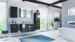 badmöbel set heron anthrazit hochglanz 7 teilig 190x180 cm inkl glaswaschbecken aquamarin und led beleuchtung