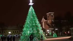 Green Christmas Tree In Kaunas Lithuania With Snow 20120114