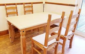 Mexican Pine Country Cream Dining Table Chairs With Washable Seat Cushions