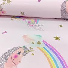 Arthouse Rainbow Unicorn Pattern Childrens Wallpaper Glitter Pony Heart Motif 696108
