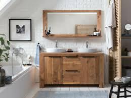 details zu badmöbel set auckland waschtisch mit spiegel holz akazie badezimmer massivholz