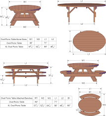 oval picnic table custom oval shaped wood picnic table