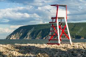 Beach Lifeguard Chair Plans by A Lifeguard Chair On Rocky Ingonish Beach With Cape Smokey In