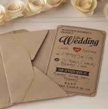 Vintage Wedding Invitations Rectangle Potrait Black Modern Casual Wording With Envelope Brown Samson Kraft Best Collection Of
