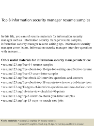 Top 8 Information Security Manager Resume Samples In This File You Can Ref Materials