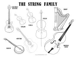 Getcoloringpages Instrument Coloring Pages Musical Instruments Sheet The String Family