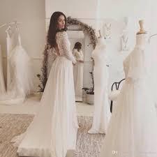 Discount 2017 New Arrival Lace Beach Wedding Dresses Chiffon Long Sleeves Rustic Backless Vestidos De Noivas Para Casamento Princess Line