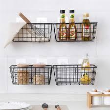 schmiedeeisen küche gewürz lagerung korb lagerung korb badezimmer rechteckigen lagerung box wand hängen rack küche lagerung