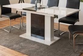 esstisch ausziehbar weiß hochglanz mit marmor esszimmer küchen tisch brügge 140 180