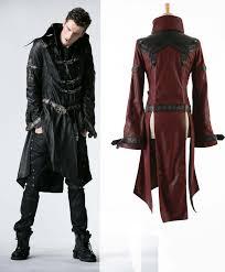 mens black or red long pleather 3 4 coat steampunk buckle dieselpunk