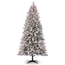 Snowy Dunhill Christmas Trees by 7 5 Ft Pre Lit White Full Flocked Vermont Pine Artificial