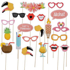 LeeSky 21pcs Luau Hawaii Photo Booth Props Kit HawaiianHolidayTropicalTikiBeachWeddingSummer Party Decoration Supplies
