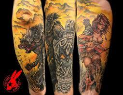 Warrior Half Sleeve Tattoo By Jackie Rabbit Jackierabbit12