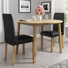 New Haven Oak Set With Round Drop Leaf Dining Table & 2 Black Faux Leather  Chairs