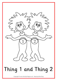Thing 1 And 2 Colouring Page