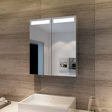 led spiegelschrank mit beleuchtung 60 x 70 cm infrarot sensorschalter badezimmerspiegel 2 türig badschrank mit rasierersteckdose