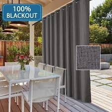 100 Blackout Textured Linen Patio Door Curtains Thermal Drapes Energy Efficient Waterproof Blinds For Sliding Glass With Anti Rust Grommet Top By