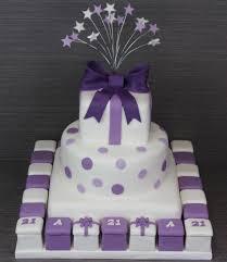N1516 · Purple and White Birthday Cake with Mini Cakes No