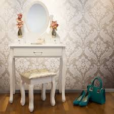Koala Sewing Cabinets Canada by Jasmine White Dressing Table Set With Adjustable Oval Mirror And