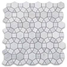carrara white 1 1 2 inch hexagon sunflower mosaic tile honed