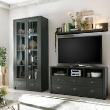 details zu wohnzimmer anbauwand landhausstil grün wohnwand schrankwand lowboard vitrine led