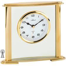 neu atlanta tischuhr funkuhr glas gold schreibtisch büro