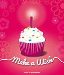 Birthday cupcake with candle Free Vector