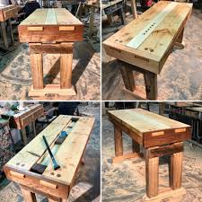 A Portable Woodworking Bench I Made For My Father In Law No Screws Nails Or Mechanical Fasteners Used The Construction Just Old School Joinery