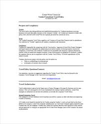 Printable Word Doc Vendor Consultant Travel Policy Template