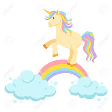 Unicorn Ride On Rainbow And Clouds Magic Vector Set Is Riding Cute