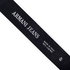 buy armani black belt with grain leather construction