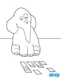 Elephant Playing Cards Coloring Page