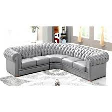 canap chesterfield angle canapé d angle capitonné cuir chesterfield gris achat vente