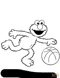 Great Elmo Playing Basketball Coloring Page With And Printable
