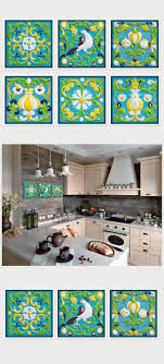 Tile Art Photography Set Of 6 Prints Kitchen Decor Square Wall Six Summer Green Blue 5x5 8x8 10x10