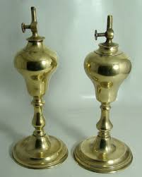 Rain Oil Lamp Cleaning by Pair Of Antique French Brass Whale Oil Lamps Circa Mid 1800 U0027s