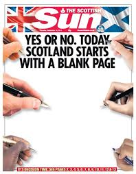 Britains Newspaper Front Pages As Scotland Votes On Independence
