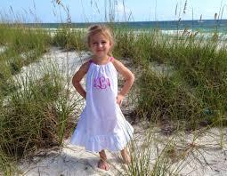 girls white beach dress monogrammed pillowcase dress ruffled