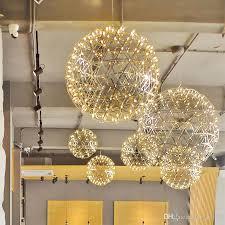 großhandel moderne led kugel feuerwerk pendelleuchte edelstahl runde pendelleuchte fixture neu für wohnzimmer dinning room pa0043 candy39 380 09