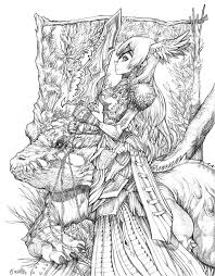 Detailed Dragon Coloring Pages For Adults 3