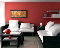Paint Colors Living Room Accent Wall by Red Accent Wall Paint Color With White Cushions And Black Wooden