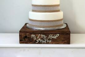Wood Cake Stand Wedding Wooden Personalised Decor Rustic Alternative