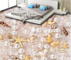 Custom Photo Wallpaper Bedroom 3d Pvc Flooring Waterproof Wall Paper Mural Pearl Crystal Shell Vinyl