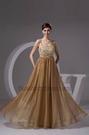 gorgeous brown spaghetti straps formal dress evening gown