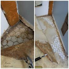 Tiling A Bathroom Floor Over Linoleum by Uncovering A Hex Tile Floor Before After Decor Adventures