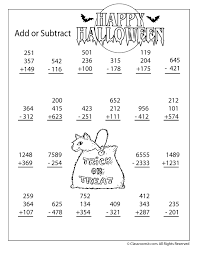 Halloween Multiplication Worksheets Coloring by 3 And 4 Digit Addition And Subtraction Worksheet Woo Jr Kids