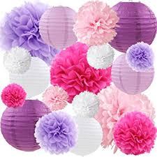Purple Hanging DIY Tissue Paper Flowers Pom Poms And Lanterns Set Of 18 For Wedding