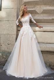 discount champagne ivory wedding dresses vintage 3 4 long