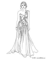 Taylor Swift Luxurious Dress Coloring Page